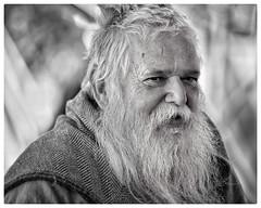 Medieval Musician (gro57074@bigpond.net.au) Tags: 8july2018 oldman beard monochrome bw medievalmusician musician medieval f28 70200mm d850 nikon