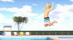 To leap across an abyss, one is better served by faith than doubt. (Skippy Beresford) Tags: boy child children kids leap swimming pool dive summer bluesky play splash faith light love