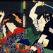 One of the portrait from the collection of portraits, Portraits of Actors by Toyohara Kunichika (1835-1900), a traditional Japanese Ukyio-e style illustration of a man attacking a woman. Digitally enhanced from our own original edition.