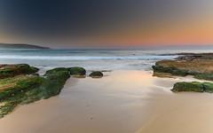 Sunset Seascape and Beach Rocks (Merrillie) Tags: sand landscape sunset seashore nature swansea newsouthwales waves nsw beach ocean lakemacquarie sea bay coastal seascape natural waterscape catherinehillbay coast australia seaside