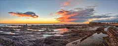 Peak Colour (JustAddVignette) Tags: australia beach clouds collaroy colours dawn headland landscapes lowtide newsouthwales northernbeaches ocean panorama reflections rocks sand sea seascape seawater seaweed sky sun sunrise sydney water