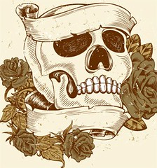 Vintage Skull with Roses and Banner Vector T-shirt Design (stockgraphicdesigns) Tags: anatomy antique banner body bone classic cranium danger dead death decor decoration decorative dirty evil fashion floral flourish flowers gothic grunge halloween horror human leaf leaves message old ornaments placard retro ribbon rose rust scary scroll skeletal skull smartpack14 splatter spooky style tattoo vintage zombie