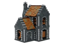 Avalonian House (-soccerkid6) Tags: lego moc creation house building goh avalonia stained glass window door stone wall roof