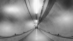 Underground by Simon Hadleigh-Sparks (Simon Hadleigh-Sparks) Tags: lines 360 underground tunnel tube monochrome blackandwhite bw london city urban vanishingpoint distorted grey architecture indoor light minimalist minimalism passage corridor round simonandhiscamera vignette circle