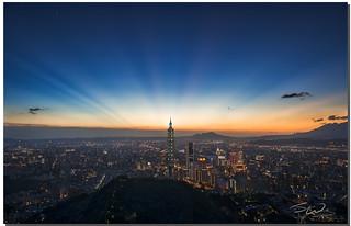 Sunset Rays over Taipei 101, Taipei, Taiwan