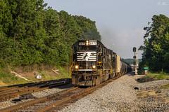 NS 65G at CP Cowart (travisnewman100) Tags: norfolk southern ns train railroad freight unit ethanol inman terminal district georgia division control point cowart sd60 sd60e emd 65q golden hour locomotive signal