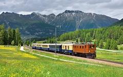 RhB Ge 4/6 353 Pontresina (tobias.unsin) Tags: railway rail railroad rhb rhätische retiche bahn sunshine switzerland swiss schmalspurbahn train zug