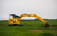 Blending in. (HivizPhotography) Tags: komatsu pc138us ab2000 aberdeen aberdeenshire digger excavator construction tracked north east uk earthmoving grass sheep infrastructure