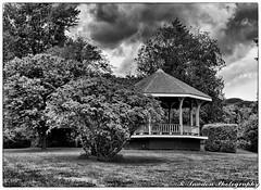 The Gazebo (R. Sawdon Photography) Tags: gazebo park clouds dark bushes bw storm stormclouds haywardlake mission bc grass canada britishcolumbia