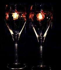 #Twins   Warm Glow (marieschubert1) Tags: double two wine glass crystal gold inlay reflection glow warm twins flickrfriday elegant indoors object