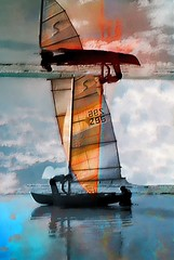 Sail away (Dreaming of the Sea) Tags: sliderssunday ricoh broome wa westaustralia reflections ricoh500g blue clouds water manipulation yacht red orange people hss