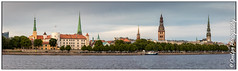 Riga Old Town pano (cee live) Tags: latvia riga spring flickr canon pano skyline churches spires river riverbank