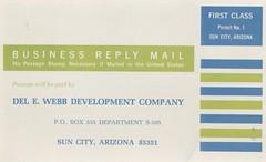 Del Webb's Sun City - Sun City, Arizona (The Cardboard America Archives) Tags: delwebb suncity vintage arizona retirement postcard folder