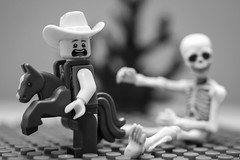 Oh No !! (N.the.Kudzu) Tags: tabletop lego collectible miniature skeleton bw canondslr lightroom flash