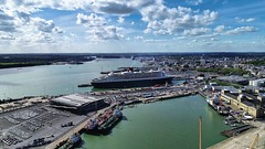 Queen Mary 2 Docked in Southampton UK (thephantomzone2018) Tags: dji drone docks dock thephantomzone2018 cruise cruises aerial vts abp departure liner harbour gb queen mary 2 mein southampton ship solent schiff boat