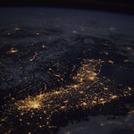 """Beautiful night pass over Italy, Alps and Mediterranean."" Original from NASA. Digitally enhanced by rawpixel. thumbnail"