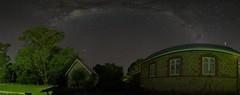 St Stephens under the Bow (Steve Paxton WA) Tags: lowlevellighting milkywaybow buildings trees stars nightshots panorama longexposure nightsky planets windows shadows