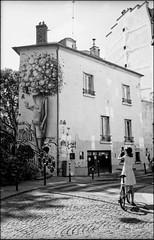 A celebrity (madras91) Tags: nb noiretblanc blackandwhite bw monochrome film ilford delta100 leicam2 leica m2 summaron35mmf28 summaron street streetphotography paris city cityscape