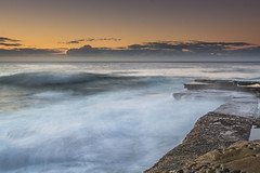 Slow and Soft Seascape (Merrillie) Tags: daybreak theskillion nature water terrigal nsw rocky sea clouds newsouthwales rocks earlymorning morning landscape centralcoast ocean australia sunrise waterscape coastal outdoors sky seascape dawn coast cloudy waves