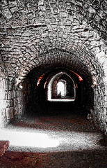 Tunnel, lights and shadows (Franco-Iannello) Tags: blackwhite red architecture history