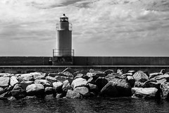 Lighthouse - Camogli, Genova (Sebastian Bayer) Tags: turm leuchtturm wasser urlaub meer küste camogli himmel felsen mauer italien ausflug wellen wolken stein