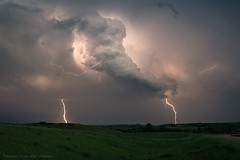 Dakota Thunderstorm (mesocyclone70) Tags: thunderstorm lightning electricity storm stormchase stormstructure stormscape prairie summer spring cg dangerous sky therebeastormabrewin landscape field plains greatplains