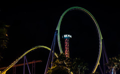 medusa has one of the largest vertical loops in the world (pbo31) Tags: bayarea california night dark black july 2018 boury pbo31 nikon d810 summer color solanocounty vallejo sixflagsdiscoverykingdom medusa rollercoaster ride spinning closed amusementpark skyscreamer tower