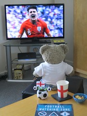 Football's comin' home! (pefkosmad) Tags: tedricstudmuffin teddy ted bear animal toy cute cuddly stuffed soft plush fluffy worldcup fifa england sweden football soccer 01 associationfootball match quarterfinal russia 2018 halftime