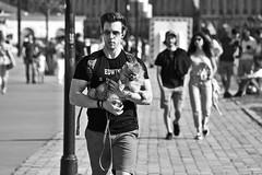 Lazy Dog (just.Luc) Tags: man male homme hombre uomo mann streetportrait bn nb zw monochroom monotone monochrome bw dog chien hond hund bordeaux gironde nouvelleaquitaine france frankrijk frankreich francia frança