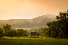Start of a hot week (Nicholas Erwin) Tags: landscape nature barn sunrise fog atmospheric atmosphere summer morning rural farm twilightfarm greenmountaingarlic waterbury waterburycenter vermont vt unitedstatesofamerica usa america fujifilmxt2 fujixt2 fuji fujifilm xt2 xf60mmf24rmacro fujixf6024 6024 fav10 fav25 fav50