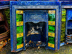Keep the Home Fires Burning (Steve Taylor (Photography)) Tags: keepthehomefiresburning firesurround leaves tiles digitalart contrast colourful newzealand nz southisland canterbury christchurch texture pumphouse