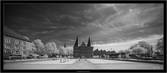 Hansestadt Lübeck, Germany (Dierk Topp) Tags: a7r bw bäume ilce7r ir luebeck voigtlanderheliarhyperwide10mmf56aspherical architecture architektur infrared lübeck monochrom sw sony trave trees