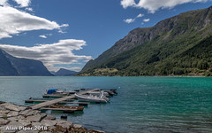 Lustrafjorden from Skjolden (PapaPiper) Tags: lustrafjorfen skjolden fjord norway water waterscape waterfront mountains boats blue clouds