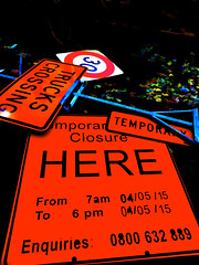 Cross Trucks (Steve Taylor (Photography)) Tags: 30 truckscrossing temporary temporaryroadclosure here stand sign black orange contrast blue red newzealand nz southisland canterbury christchurch cbd city perspective