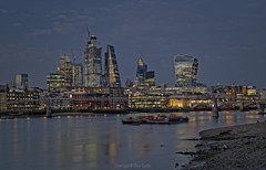 Thames North Bank Blue Hour (Dave Sexton) Tags: london england united kingdom uk river thames north bank city skyline blue hour dusk wet long exposure dxo photolab on1 affinity photo pentax k1 2470mm f28