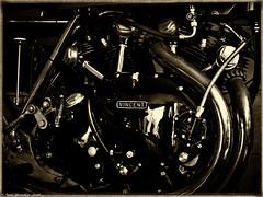 Motorcycles and Coffee (Neil. Moralee) Tags: credditondevon neilmoralee vincent engine black shadow motor cycle motorcycle fast toned sepia power history moto velo credditin devon union street mechanical white mono monchrome neil moralee olympus omd em5 close detail british engineering