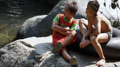 Partner in Crime (bukrie) Tags: boy boys kid kids human candid nature waterfall children discuss discussion stone rock play playing outdoor