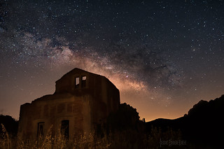 Milky way over old rail station