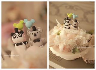 Handmade koala and panda with mickey mouse balloons wedding cake topper, cute animals wedding cake decoration ideas