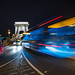 Budapest Chain Bridge at Night With A Bus