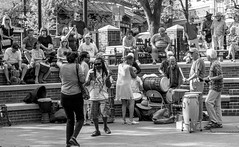 When in Asheville........ (Shawn Blanchard) Tags: downtown asheville city black white bw dancing park music people