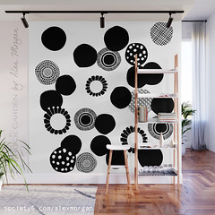Rock Garden by Alex Morgan (Spellstone) Tags: spellstone spoonflower roostery art craft design surface pattern society6 alexmorgan pillow cushion phonecase textile fabric wallpaper totebag tote clock wallclock mug rug pouch laptopskin clothing apparel sewing curtains circles rocks garden bw black white blackandwhite highcontrast abstract