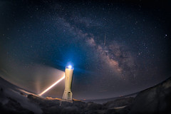 Milky way over a lighthouse and a meteor (aotaro) Tags: ilce7m3 milyway kanagawa sigma15mmf28exdgfisheye stars meteor seascape lighthouse shootingstar japan sea