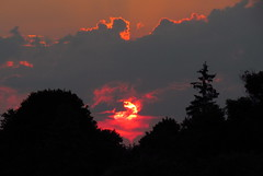 Pennsylvania Sunset (Hank Rogers) Tags: pa ny newyork pennsylvania sunset weather hot hazy hhh humid heat red sweat trees outdoor sky skyline clouds color sun season view zoom