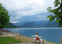 Lake Bled (Kaeko) Tags: lake bled slovenia europe travel vacation bench holiday water