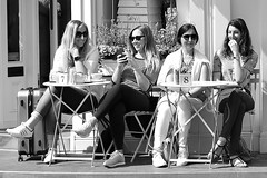 Summer in the city.... (markwilkins64) Tags: cakeshop bright sunny 8 7 beehive coffeeshop coffee tea giggles laughter smiles smile london cafe street streetphotography streetscene streetportraits women ladies sunglasses blackandwhite mono bw