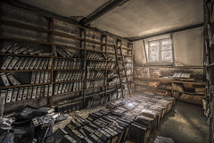 Work never ends.. Just give up... (Marco Bontenbal (Pixanpictures.com)) Tags: nikon d750 tamron 1530 lost abandoned decay decayed urbex urban ue urbanexploring photography pixanpictures old beautiful belgium books administration industrial naturallight amazing forgotten window light