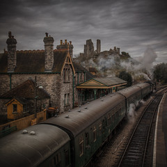 the ghost of you (stocks photography.) Tags: michaelmarsh corfe photographer castle steamtrain cinematic atmospheric train steam photography railway