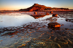 The golden glow of the early morning sun lights up the beautiful cliff face & it's reflection in the shallows of the rock pool at low tide (monkcushla1) Tags: urban reflection landscape seascape outdoors sunlight water rockpool cliff coast sea rockshelf light newsouthwales australia sydney sunrise