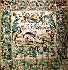"Hunting Room (Lisbon, 1680) - Named ""Hunting Room"" from the scenes represented in the panels: animals chasing each other"